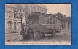 CPA - CREIL ( Oise ) - Autobus Parisien Incendié - Schneider ? - Guerre 1914 1918 Ww1 Autocar Camion Militaire - Buses & Coaches