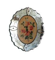 Miroir Ovale En Verre De Venise Et Roses Peintes - Verre & Cristal