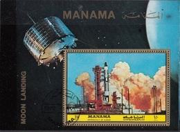 Manama 1972 Bf. 208A NASA Moon Landing Rocket Sheet Perf. CTO - Manama