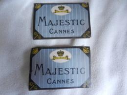 2 ETIQUETTES DE MALLE HOTEL MAJESTIC CANNES - Publicités