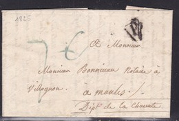 """France, Paris - """"P"""" Noir, Pothion N° 1008 Sur LAC De 1825 - Marcophilie (Lettres)"""