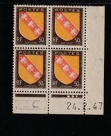Coin Daté 757 ** 24/2/47    écriture En Bas Stylo - 1940-1949