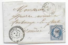 1855 - VENDEE - LETTRE SC De LA CAILLERE Avec BOITE RURALE B + T22 + PC 581 + T15 STE HERMINE ! => FONTENAY LE COMTE - 1849-1876: Klassik