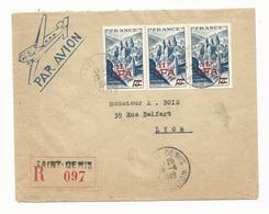 Lettre Recommandée Yvert No 305 Abbaye De Conques -11 Francs CFA  LA REUNION De Saint Denis Pour Paris - Tarif Rare 1949 - Marcophilie (Lettres)