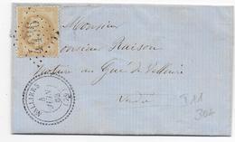 1868 - VENDEE - LETTRE De NALLIERS Avec T22 + GC 4436 => GUE DE VALLUIRE Par VIX - Postmark Collection (Covers)
