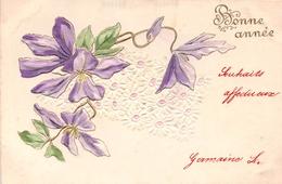 CPA Fantaisie Gaufrée - Fleurs - Bonne  Année - (style Art Nouveau) - Nouvel An