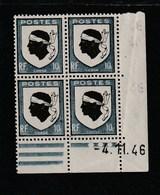 Coin Daté 755 **  4/11/46   Pliure Sur La Bande Verticale - 1940-1949