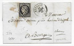 1849 - YONNE - YT N° 3 Sur LETTRE SC De AVALLON Avec GRILLE + T15 => BOURGES - 1849-1876: Periodo Classico