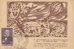 Carte Maximum - 75e Anniversaire De La Poste Par Ballon Du Siège De Paris 1871 - 1946 - France