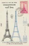 Carte Maximum - Comité De L'Art Des Fêtes - Cinquantenaire De La Tour Eiffel  1939 - France