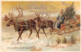 CPA Fantaisie Gaufrée -  Bonne Et Heureuse Année - Traineau - Père Noël - Rennes - Santa Claus