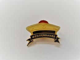 PINS Méditérranée  Marine Nationale Chapeau Marin à  Pompon  Ancre Bateau / Base Dorée / 33NAT - Barcos