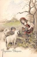 CPA Fantaisie Gaufrée - Joyeuses Pâques - Moutons - Enfants - Liserets Dorés (style Viennoise) - Pâques