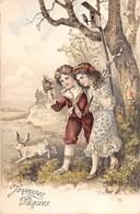 CPA Fantaisie Gaufrée - Joyeuses Pâques - Lapin - Enfants - Liserets Dorés (style Viennoise) - Pâques