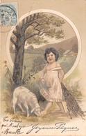 CPA Fantaisie Gaufrée - Joyeuses Pâques - Mouton - Enfant - Fillette - Liserets Dorés (style Viennoise) - Pâques