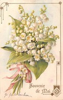 CPA Fantaisie Gaufrée - Souvenir De Mai - Bouquet De Muguet - 1er Mai - Fleurs