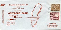 ENVELOPPE CONCORDE 11 VOL CHARTER GOTEBORG - PARIS DU 17 JUIN 1979 - Concorde