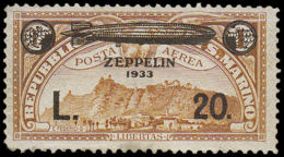 SAINT MARIN Poste Aérienne * - (16), Type Non émis (20l./1l. Brun Jaune, Zeppelin à L'envers), Tirage 2 Exemplaires, (Ex - San Marino
