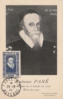 Carte Maximum - Ambroise Paré 1517 - 1590 Ob Laval 1944 - Brieven En Documenten