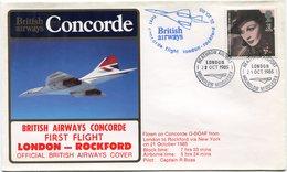 ENVELOPPE BRITISH AIRWAYS CONCORDE PREMIER VOL LONDON - ROCKFORD DU 21 OCT1985 - Concorde