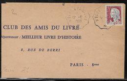 France - Marcophilie - Convoyeur Ligne - Le Havre à Paris 2° (enveloppe Pliée à Gauche) - Marcophilie (Lettres)