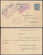 """BELGIQUE EP 50c BLEU DE ET VERS BRUXELLES ETIQUETTE """"INCONNU"""" (DD) DC-6183 - 1935-1949 Klein Staatswapen"""