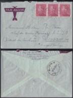 BELGIQUE COB 429 BANDE DE 3 SUR LETTRE PAR AVION DE KNOKKE 39/09/1936 VERS LUSAMBO CONGO BELGE (DD) DC-6186 - 1936-1951 Poortman