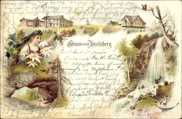 Lithographie Brotterode Trusetal In Thüringen, Inselberg, Wasserfall Im Trusenthal - Duitsland