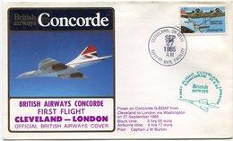 ENVELOPPE BRITISH AIRWAYS CONCORDE PREMIER VOL CLEVELAND - LONDON DU SEP 27 1985 - Concorde