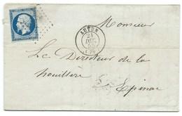 N° 14 BLEU NAPOLEON SUR LETTRE / AUTUN POUR EPINAC / 21 DEC 1855 - Storia Postale