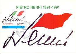 PIETRO NENNI  1991 MAXIMUM POST CARD (GENN200304) - Esposizioni Filateliche