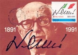 PIETRO NENNI  1991 MAXIMUM POST CARD (GENN200305) - Esposizioni Filateliche