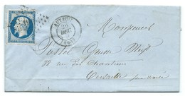 N° 14 BLEU NAPOLEON SUR LETTRE / AUTEUIL POUR VERSAILLES / 26 DEC 1855 - Storia Postale