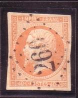 NAPOLEON EMPIRE NON LAURE 40C ORANGE YT16 OBLITERE LOSANGE 260 - 1853-1860 Napoléon III