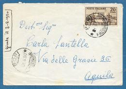 1950 L.20 ISOLATO XXVIII FIERA DI MILANO POFI PER L'AQUILA - 1946-60: Storia Postale