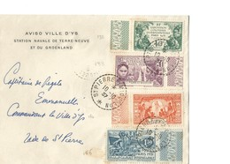"""TB Lettre à Entête """"Aviso Ville D'Ys"""" Avec Timbres YT 132 à 135 Expo Coloniale Paris 1931 - St.Pierre Et Miquelon"""