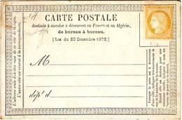 15 C CERES N° 59 NEUF SUR Carte Precurseur , Cote Neuf Sans Gomme : 150 Euro - 1871-1875 Cérès