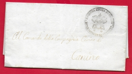 PREFILATELICA PONTIFICIO - 1848 Lettera Con Testo CANINO - Bollo TENENZA CIVICA - Polizia - 1. ...-1850 Prephilately