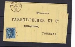 N° 15 Ou 15 A / Lettre De Bruxelles Vers Tournai Lac 29 Avril 1865 - 1863-1864 Medaillen (13/16)
