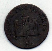GIBRALTAR, 2 Quarts, Copper, Year 1802, KM #Tn2.2 - Gibilterra