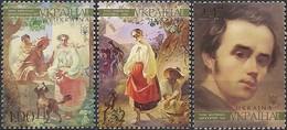 UKRAINE - COMPLETE SET TARAS SHEVCHENKO (1814-1861), POET AND WRITER 2008 - MNH - Arte