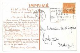 PARIS DEPART 1924 / N°158 Flamme JEUX OLYMPIQUES/PARIS/MAI-JUIN-JUILLET/1924 - CP Labo. Nativelle Paris - 1921-1960: Periodo Moderno