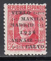 1936  Edifil Nº 741  MH, Vuelo Madrid-Manila - 1931-50 Nuevos & Fijasellos