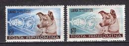 1957 ROMANIA DOG LAJKA IN SPACE MICHEL: 1684-1685 MH * - 1948-.... Repúblicas