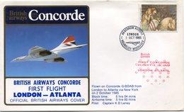 ENVELOPPE BRITISH AIRWAYS CONCORDE PREMIER VOL LONDON - ATLANTA DU 2 OCT 1985 - Concorde