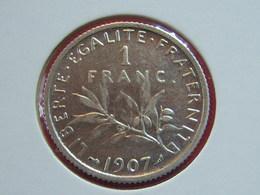 1 F 1907 SEMEUSE ARGENT SUP++  RARE!!!!!!!!!!!! - France