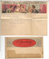 ESTADOS UNIDOS USA 1937 TELEGRAMA WESTERN UNION DIA DE LA MADRE MOTHER'S DAY COMIDA FOOD - Ernährung