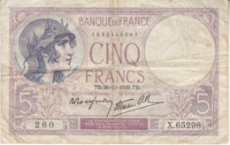Billet 5 F Violet Du 26-10-1939 FAY 4.13 Alph. X.65298 - 1871-1952 Anciens Francs Circulés Au XXème