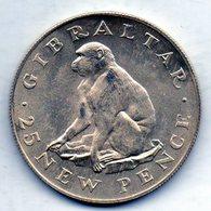 GIBRALTAR, 25 New Pence, Silver, Year 1971, KM #5a - Gibilterra