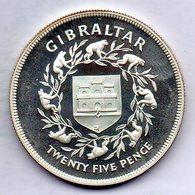 GIBRALTAR, 25 Pence, Silver, Year 1977, KM #10a - Gibilterra
